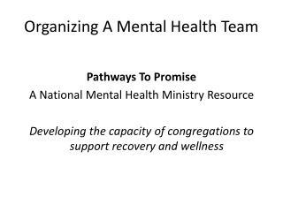 Organizing A Mental Health Team