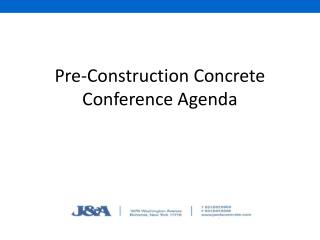 Pre-Construction Concrete Conference Agenda