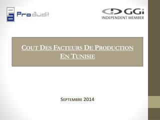 Cout Des Facteurs  De Production  En  Tunisie