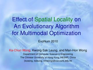 Effect of  Spatial Locality  on  An Evolutionary Algorithm for Multimodal Optimization