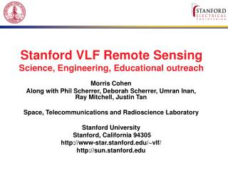 Stanford VLF Remote Sensing Science, Engineering, Educational outreach