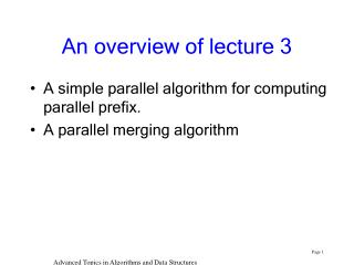 An overview of lecture 3