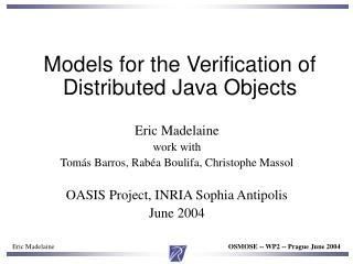 Models for the Verification of Distributed Java Objects