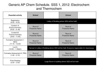 Generic AP  Chem  Schedule. SSS 1, 2012: Electrochem  and  Thermo c hem