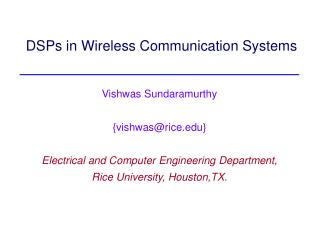DSPs in Wireless Communication Systems