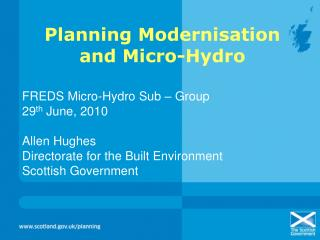 Planning Modernisation and Micro-Hydro