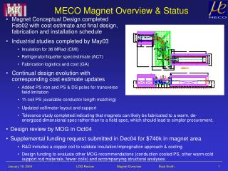 MECO Magnet Overview & Status