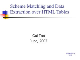 Scheme Matching and Data Extraction over HTML Tables