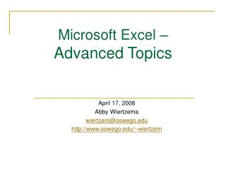 Microsoft Excel –  Advanced Topics