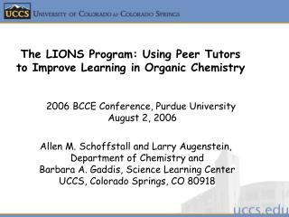 2006 BCCE Conference, Purdue University  August 2, 2006
