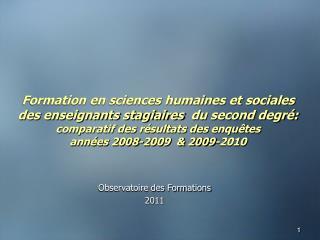 Observatoire des Formations 2011