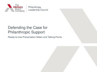 Defending the Case for Philanthropic Support