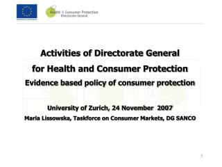 Activities of Directorate General for Health and Consumer Protection