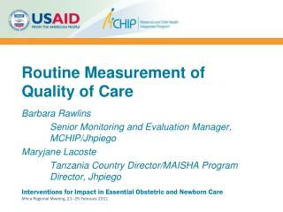 Routine Measurement of Quality of Care
