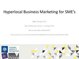 Hyperlocal  Business Marketing for  SME's