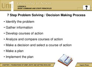 7 Step Problem Solving / Decision Making Process Identify the problem Gather information