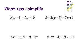 Warm ups - simplify