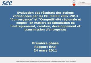 Première phase Rapport final  24 mars 2011