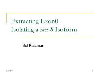 Extracting Exon0 Isolating a  mec-8  Isoform