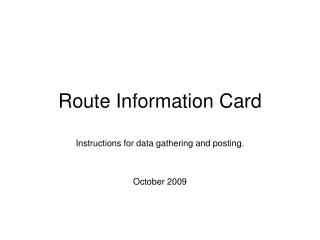 Route Information Card