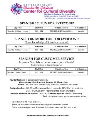SPANISH 102 MORE FUN FOR EVERYONE! *Basic knowledge of Spanish is required.