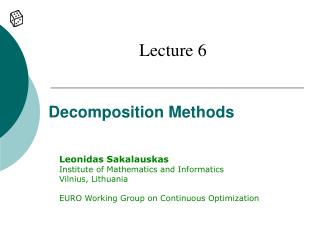 Decomposition Methods