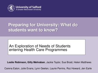 Preparing for University: What do students want to know?