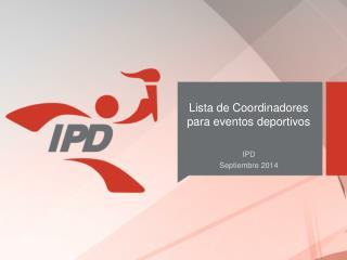 Lista de Coordinadores para eventos deportivos