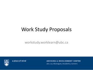 Work Study Proposals