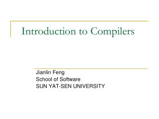 Introduction to Compilers