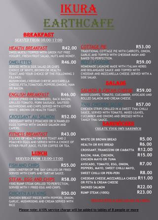 OMELETTES R46.00  SERVED WITH A SIDE SALAD OR CHIPS