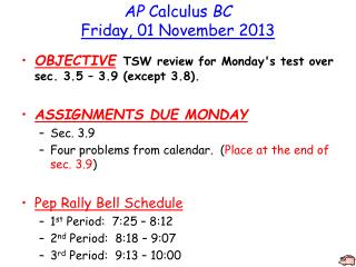 AP  Calculus  BC Friday, 01 November 2013