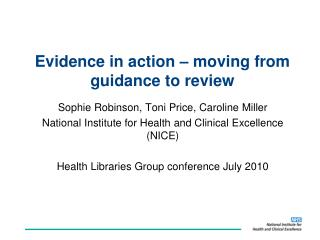 Evidence in action – moving from guidance to review