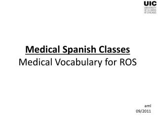 Medical Spanish Classes Medical Vocabulary for ROS