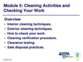 Module 5: Cleaning Activities and Checking Your Work