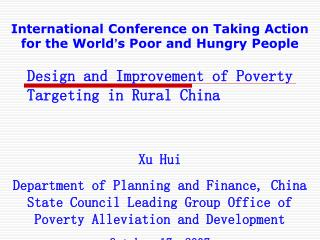 Design and Improvement of Poverty Targeting in Rural China