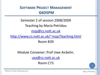Software Project  Management G6DSPM