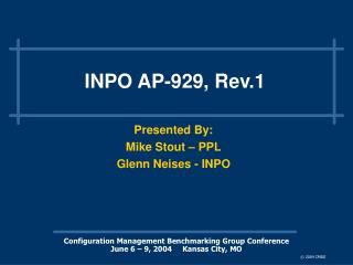 INPO AP-929, Rev.1