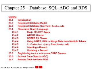 Chapter 25 – Database: SQL, ADO and RDS
