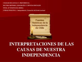 COLEGIO DE LOS SS.CC. PROVIDENCIA SECTOR: HISTORIA, GEOGRAFÍA Y CIENCIAS SOCIALES