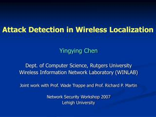 Attack Detection in Wireless Localization