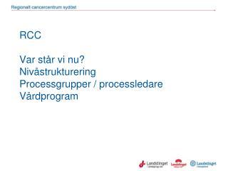 RCC Var står vi nu? Nivåstrukturering Processgrupper / processledare Vårdprogram