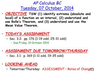 AP  Calculus  BC Tuesday ,  07  October,  2014