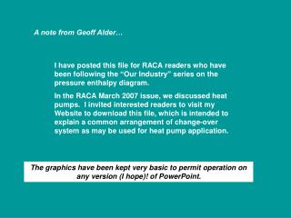 A note from Geoff Alder