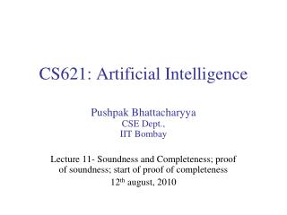 CS621: Artificial  Intelligence