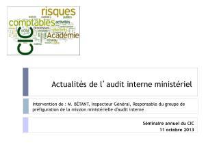 Actualités de l ' audit interne ministériel