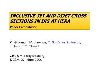 INCLUSIVE-JET AND DIJET CROSS SECTIONS IN DIS AT HERA Paper Presentation
