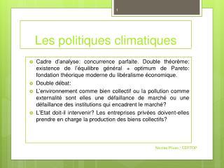 Les politiques climatiques