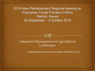Integrated Management of Agricultural Landscapes