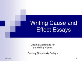 Writing Cause and Effect Essays